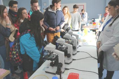Práctica de laboratorio clínico y biomédico con microscopio