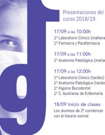 Presentación del curso 2018/19 - Ciclos Formativos de Sanidad