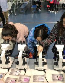 alumnos mirando por el microscopio